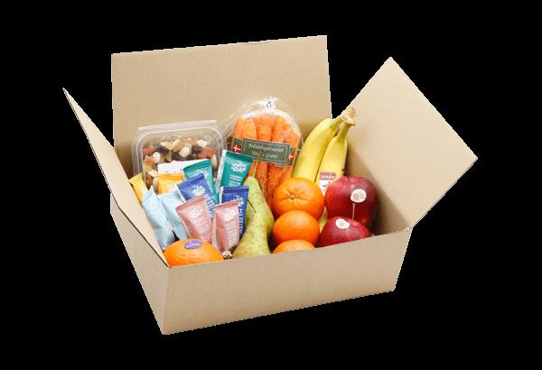 FrugtKasse, snackskasse, snackbox, sunde snacks, FrugtKasser, medarbejder frugt, frugt til hjemmekontoret