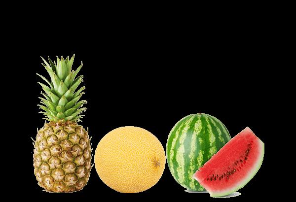 Skærefrugt, ananas, melon, eksotiske frugter, mango